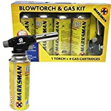 Kit de Chalumeau à gaz butane lance-flammes allumage automatique soudure, BLOWTORCH + 4 GAS BOTTLE