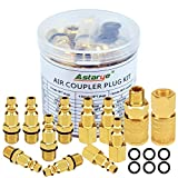 Atarye 12 pcs Raccords de compresseur d'air Coupleur pneumatique 1/4'NPT(American pneumatic quick connector) d'air Connecteurs de conduite et kit de couplage Accouplements du connecteur Homme Femme