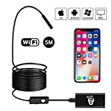 BEVA Endoscope WiFi Inspection Caméra Mégapixels HD Caméra Endoscopique Semi-Rigid Flexible 1200P Caméras d'Inspection avec le Câble de 5m Compatible avec IOS / Android / Tablette/ Windows (Noir)