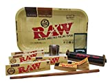 Kit plateau raw + GRINDER a herbe + feuille a rouler Raw King Size Slim + feuille a rouler raw classique + tasseur+ rouleuse 110mm - plateau raw
